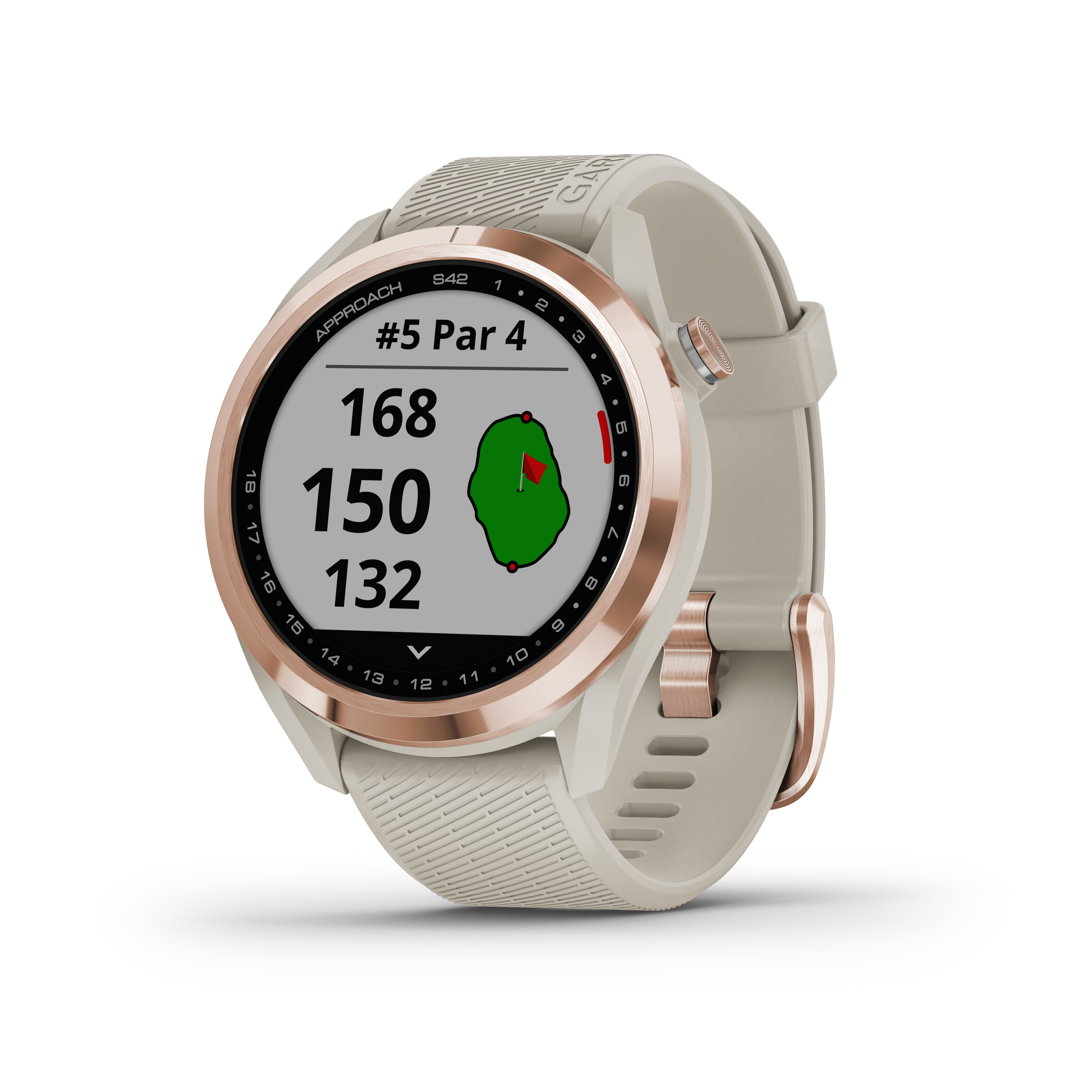 GARMIN Approach® S42,  roséguld med ljust sandfärgat armband