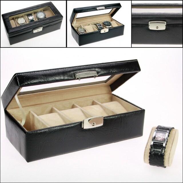 Timekeeper förvaringsbox B5 Svart konstläder - Box för 5 klockor