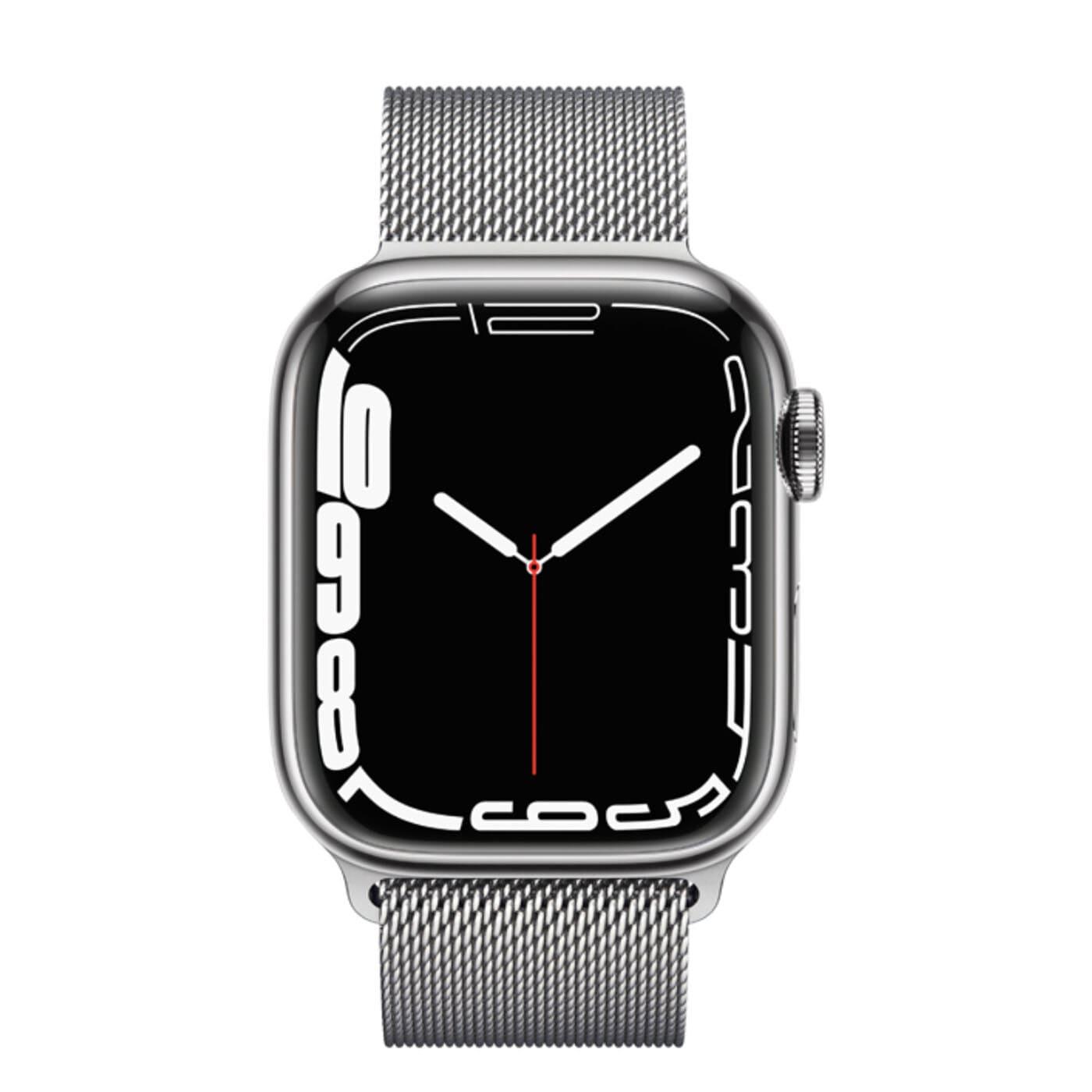 Apple Watch Series 7 Rostfri stålboett med Milaneselänk - Silver