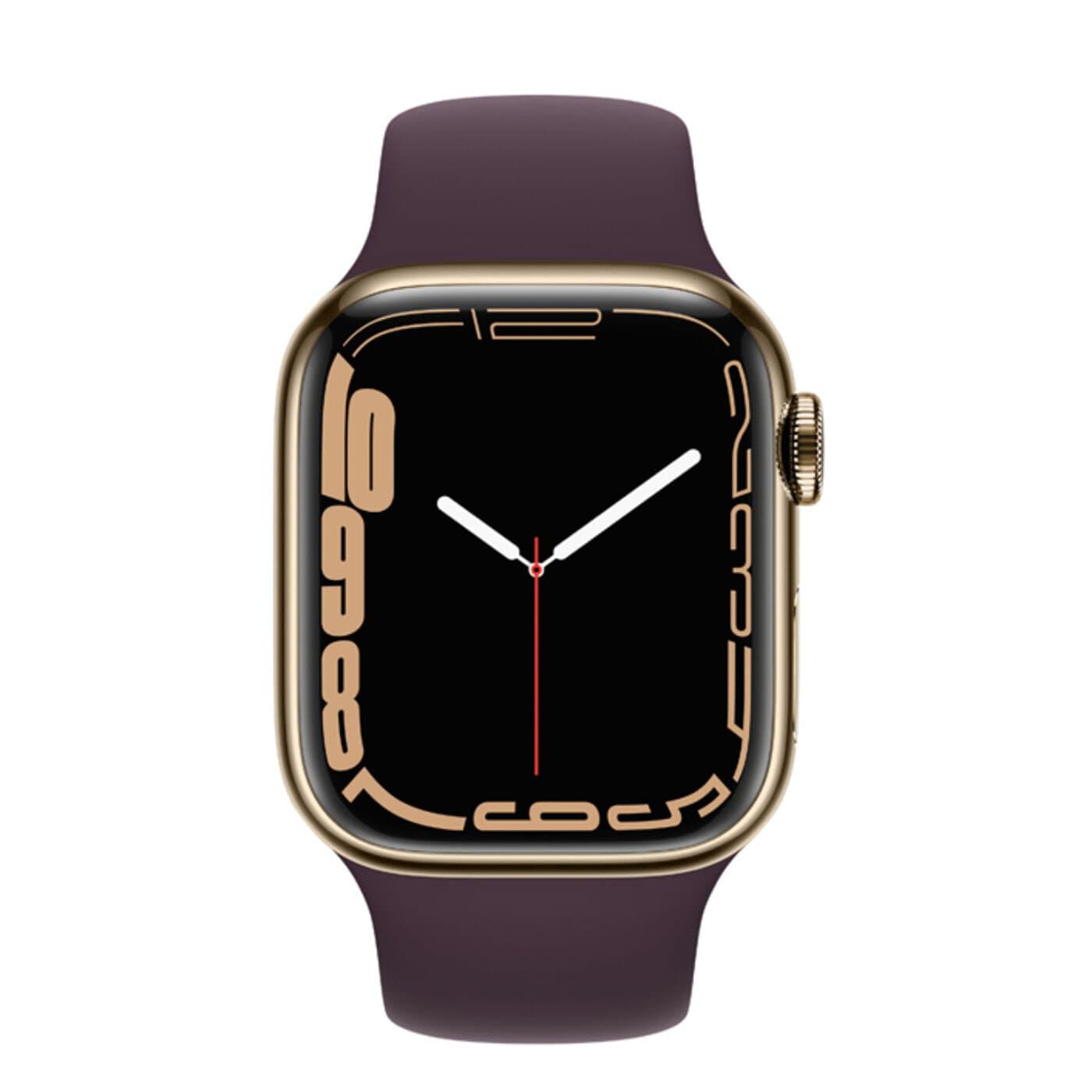 Apple Watch Series 7 Rostfri stålboett med Sportband - Guld