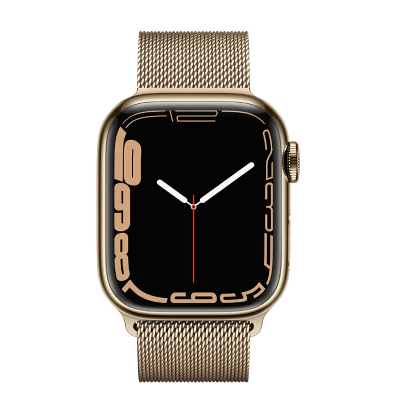 Apple Watch Series 7 Rostfri stålboett med Milaneselänk - Guld