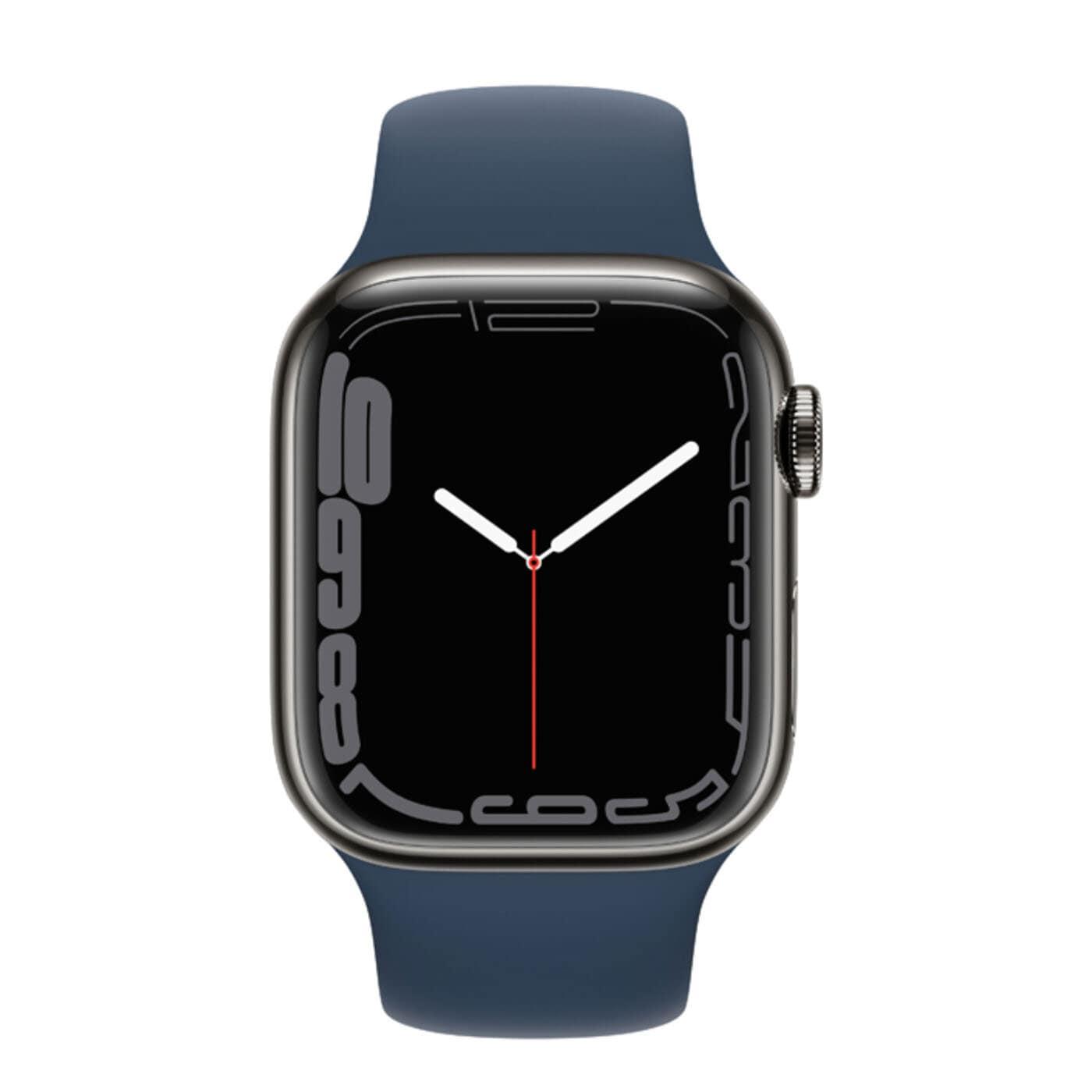 Apple Watch Series 7 Rostfri stålboett med Sportband - Grafit